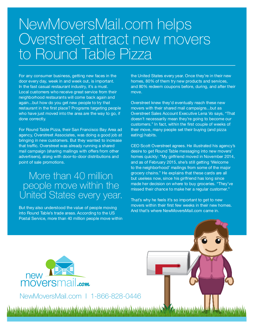 NewMoversMail.com Helps Overstreet Attract New Movers to Round Table Pizza